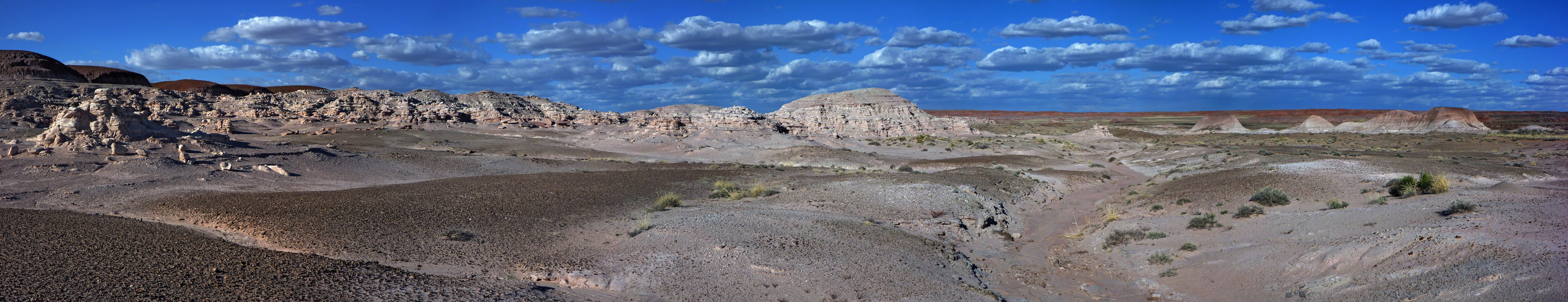 Panorama of badlands and eroded rocks