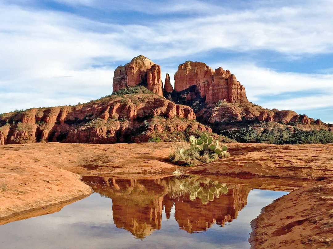reflections on a pool cathedral rock trail sedona arizona