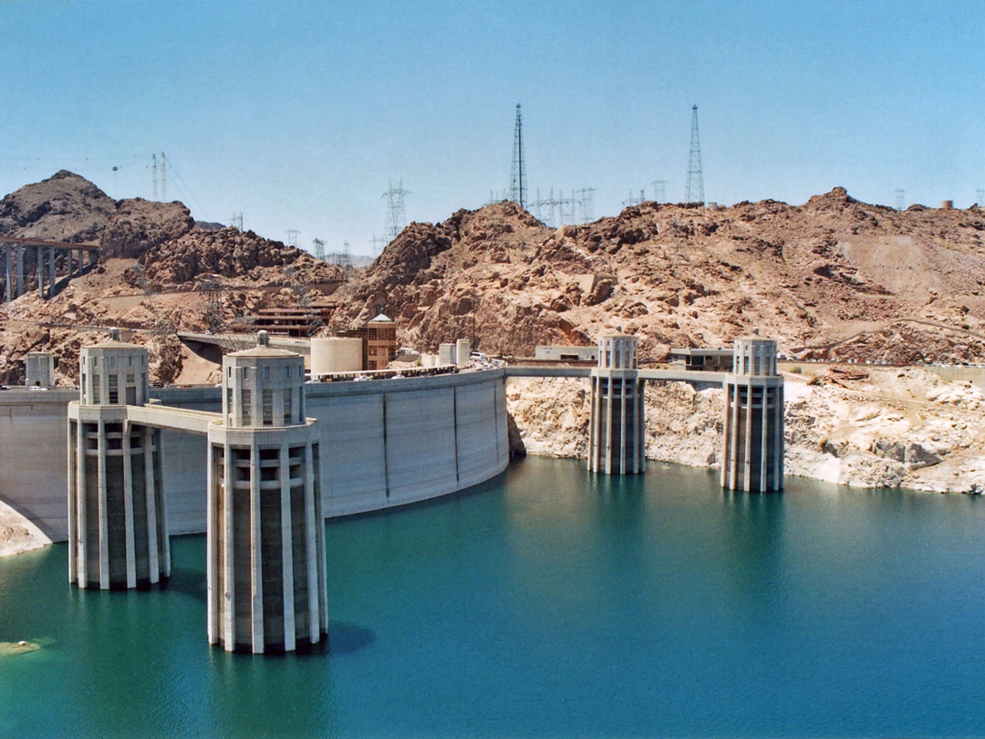 The dam, and the intake towers