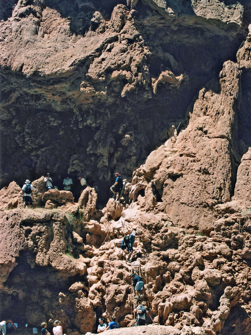 Ladders down to Mooney Falls