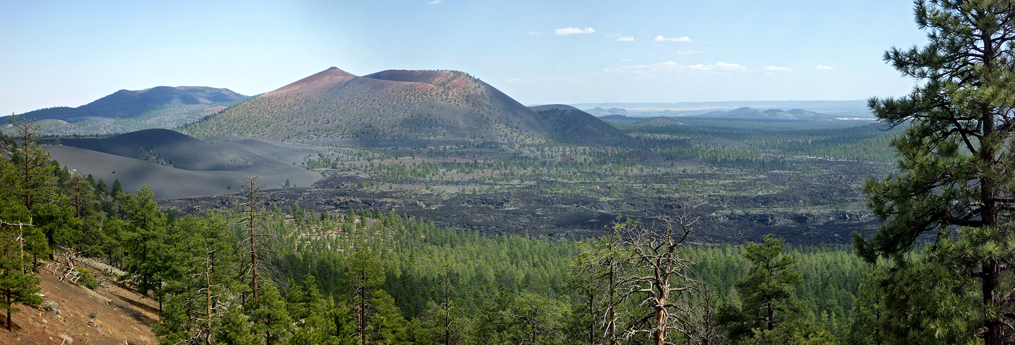 Panorama of Sunset Crater and the Bonito Lava Flow