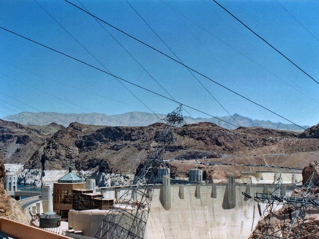 Power cables above Hoover Dam