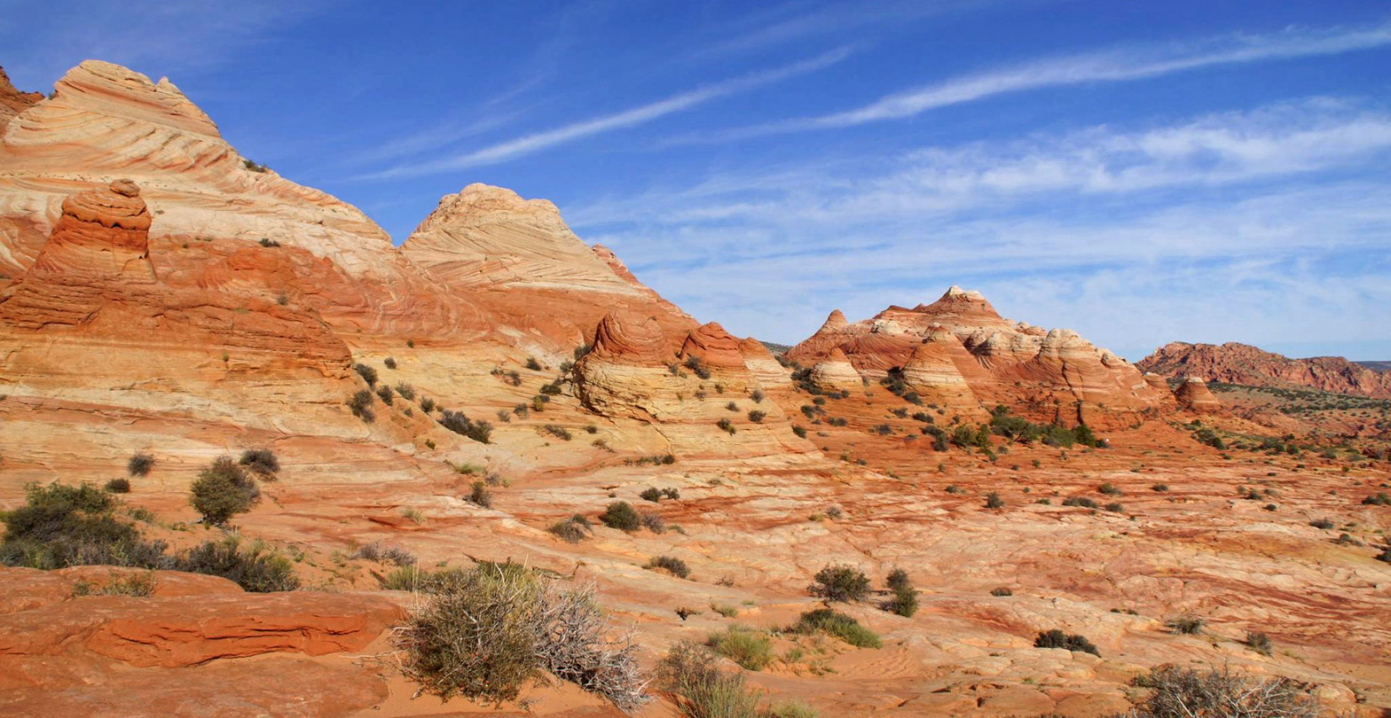 Sandstone domes along the trail to the Wave