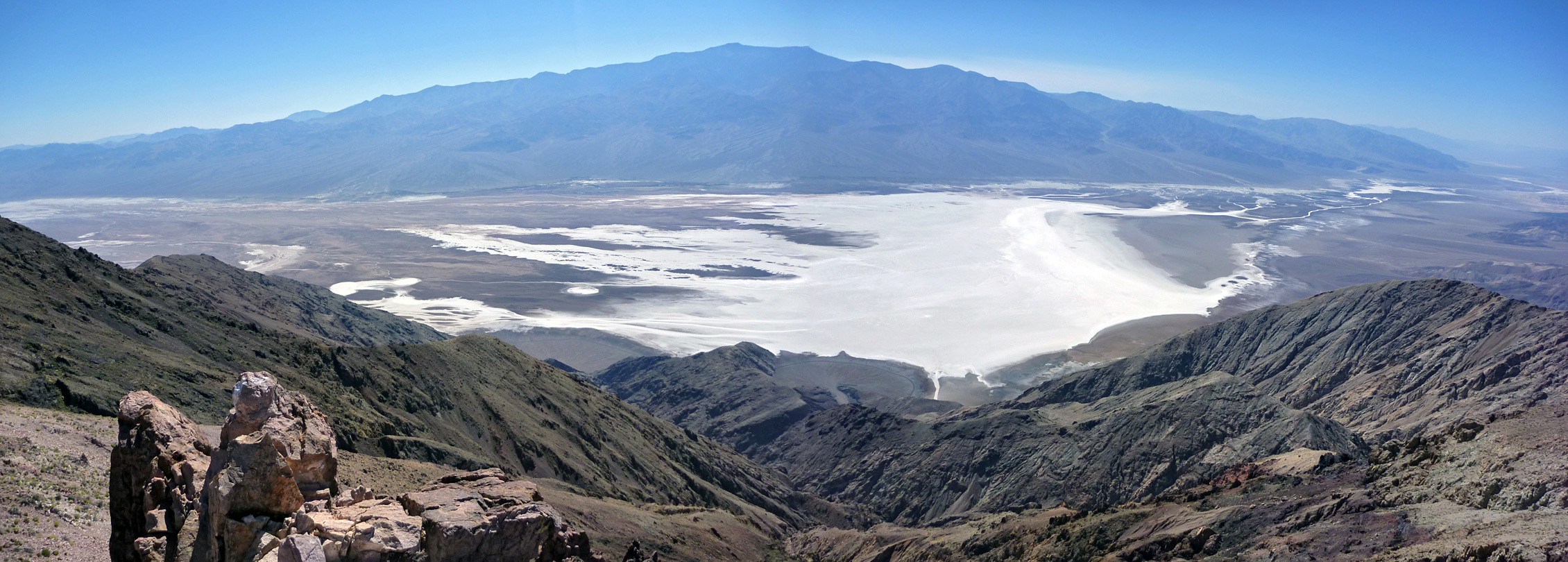 Badwater salt flats and the Panamint Mountains
