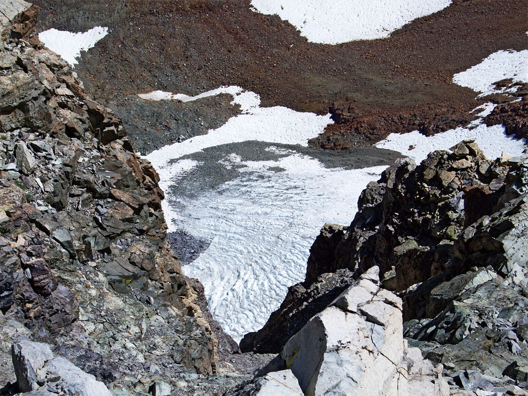 Glacier beneath the summit