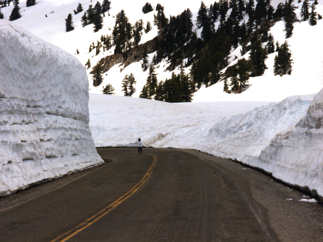 Snow banks along the road