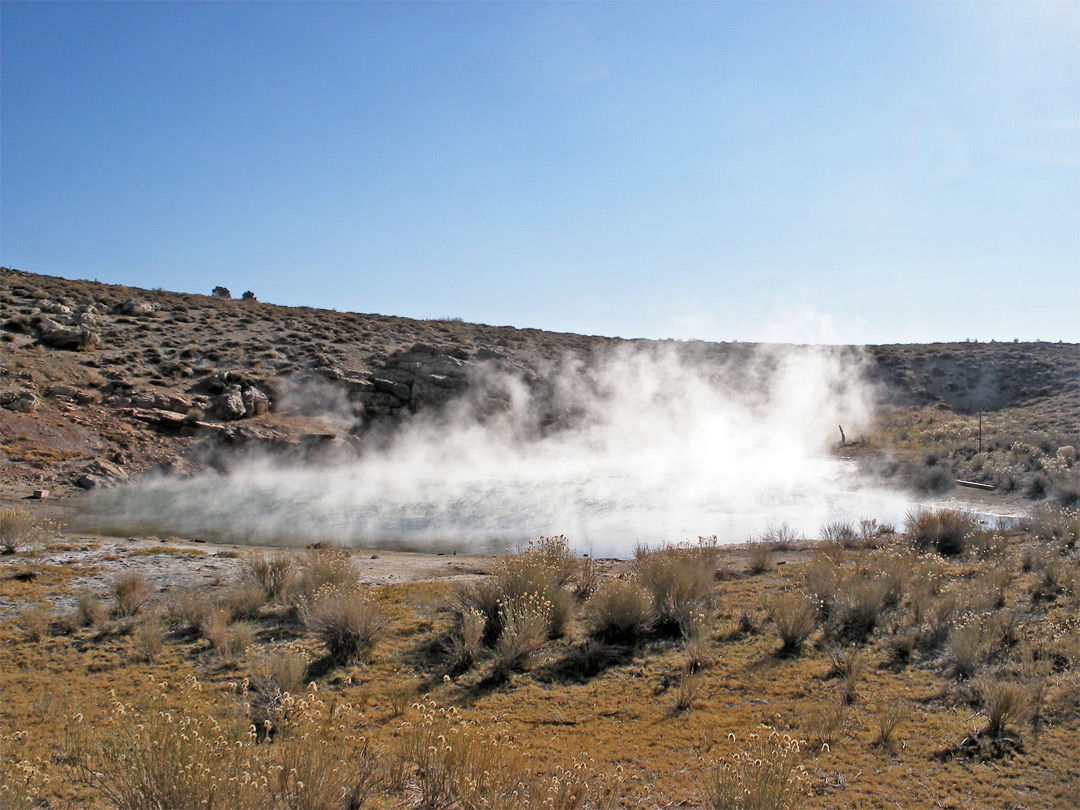 Steam above a hot spring