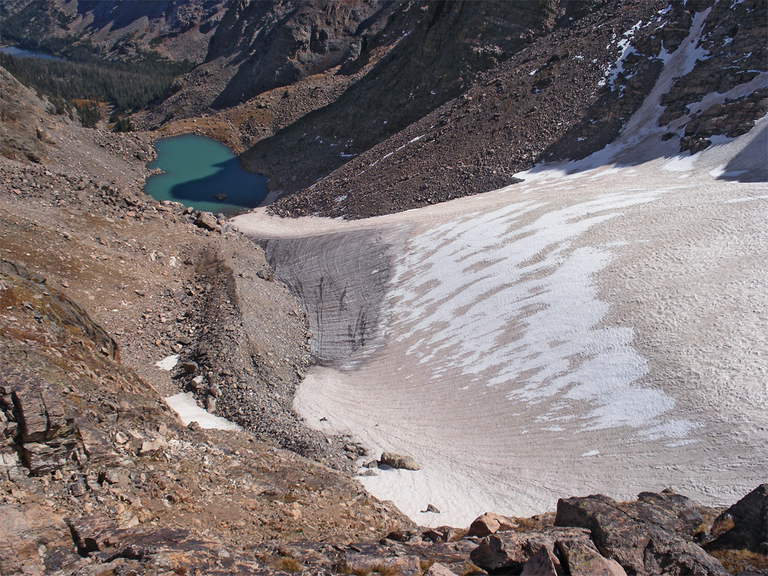 The snow and ice of Andrews Glacier