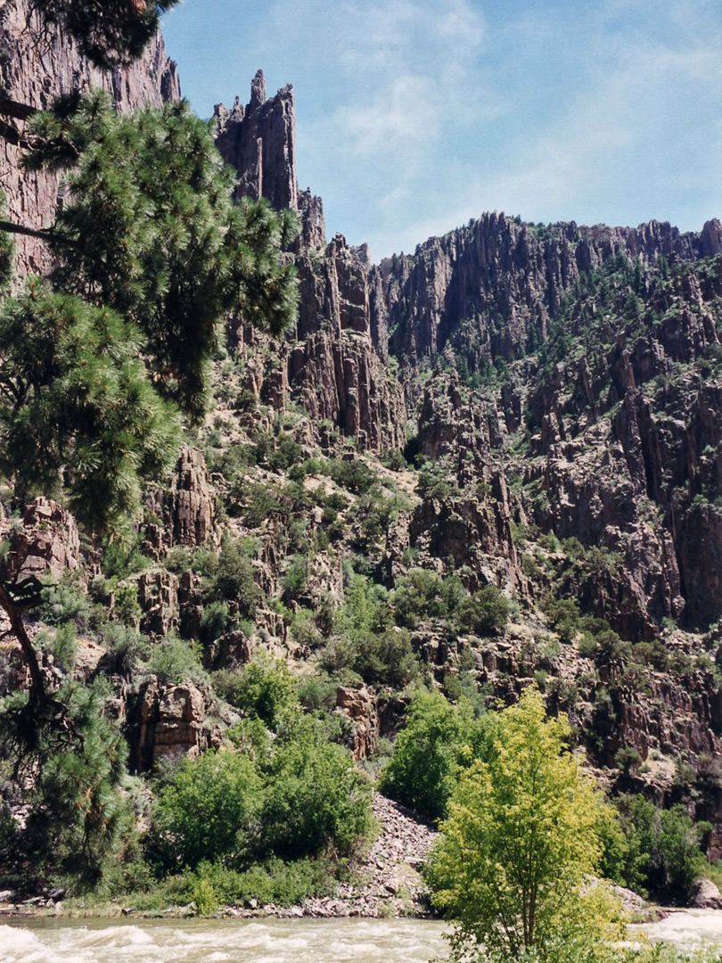 Cliffs opposite the Gunnison Route