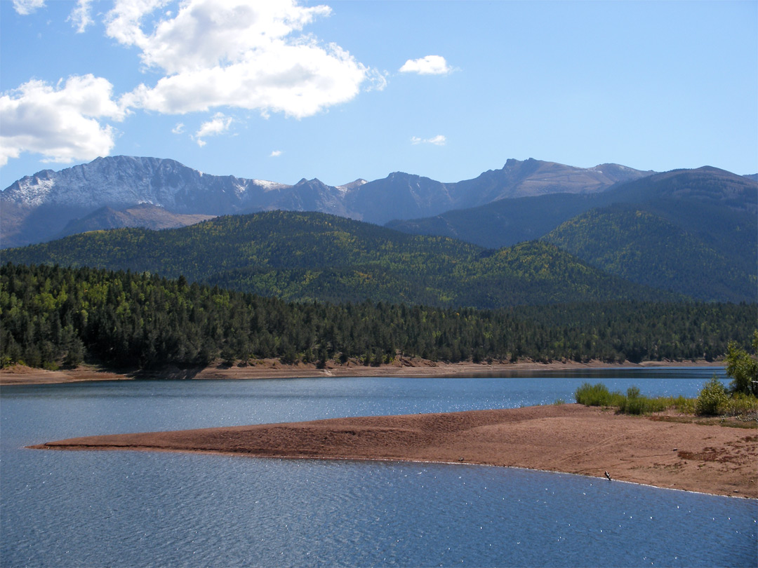 Pikes peak, rising high above crystal creek reservoir