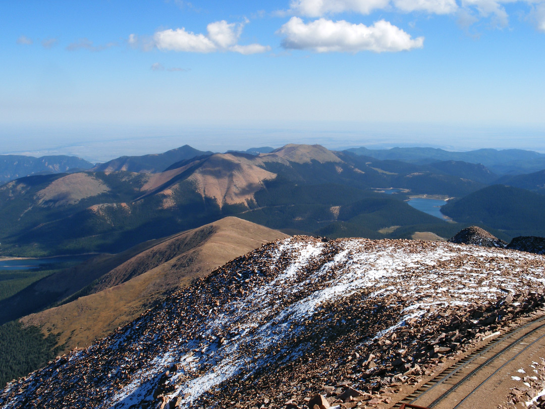 The summit - view south: Pikes Peak, Colorado
