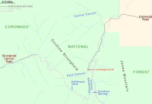 Map of Cochise Stronghold