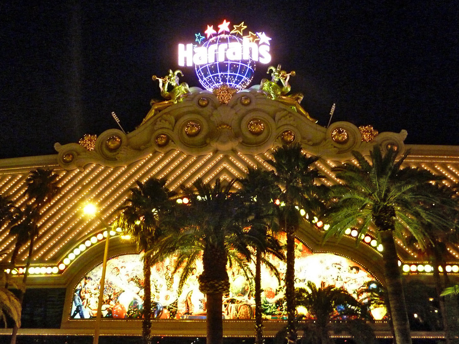 Palm trees below the casino sign