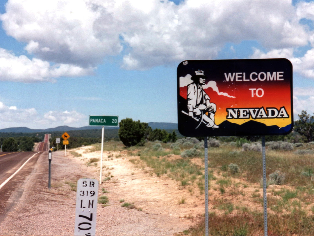 Welcome sign, NV 319