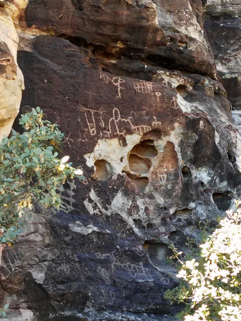 Petroglyphs and cavities