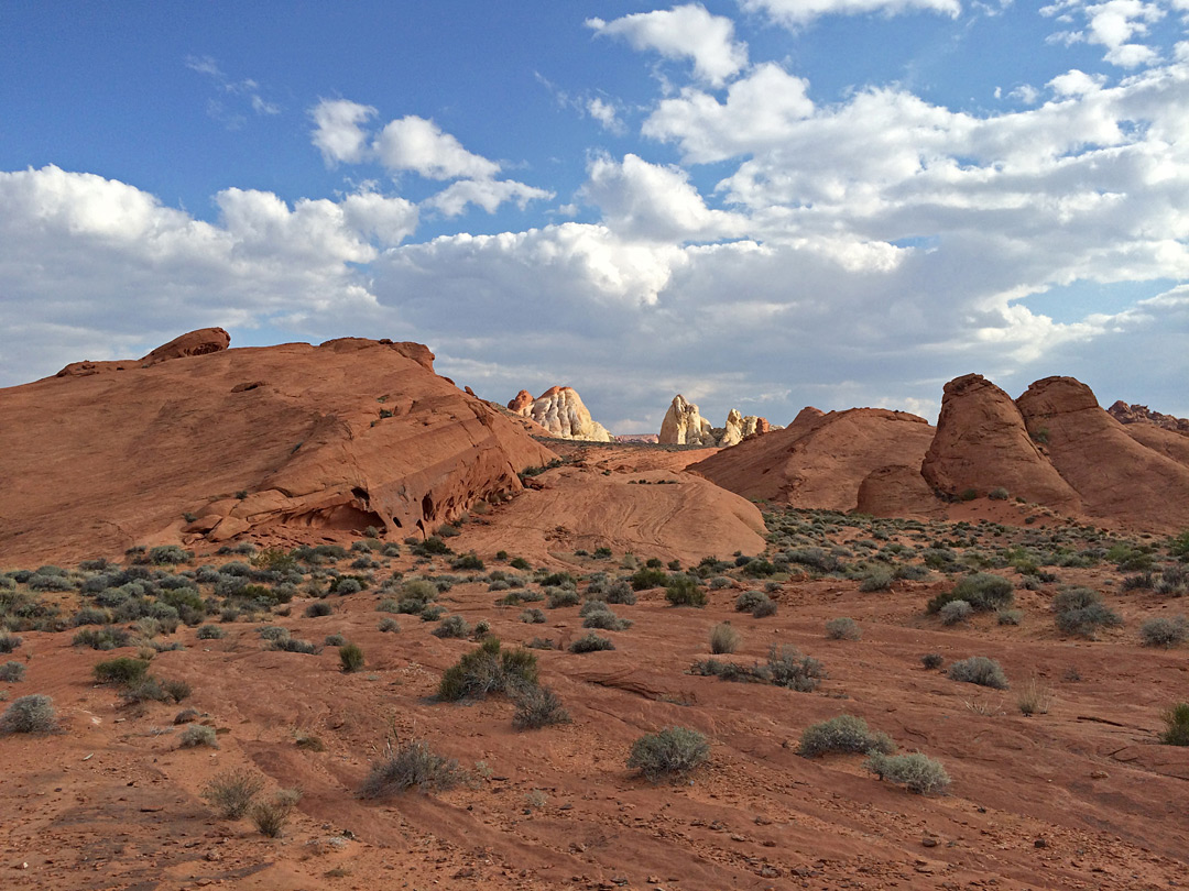 White domes beyond red rocks