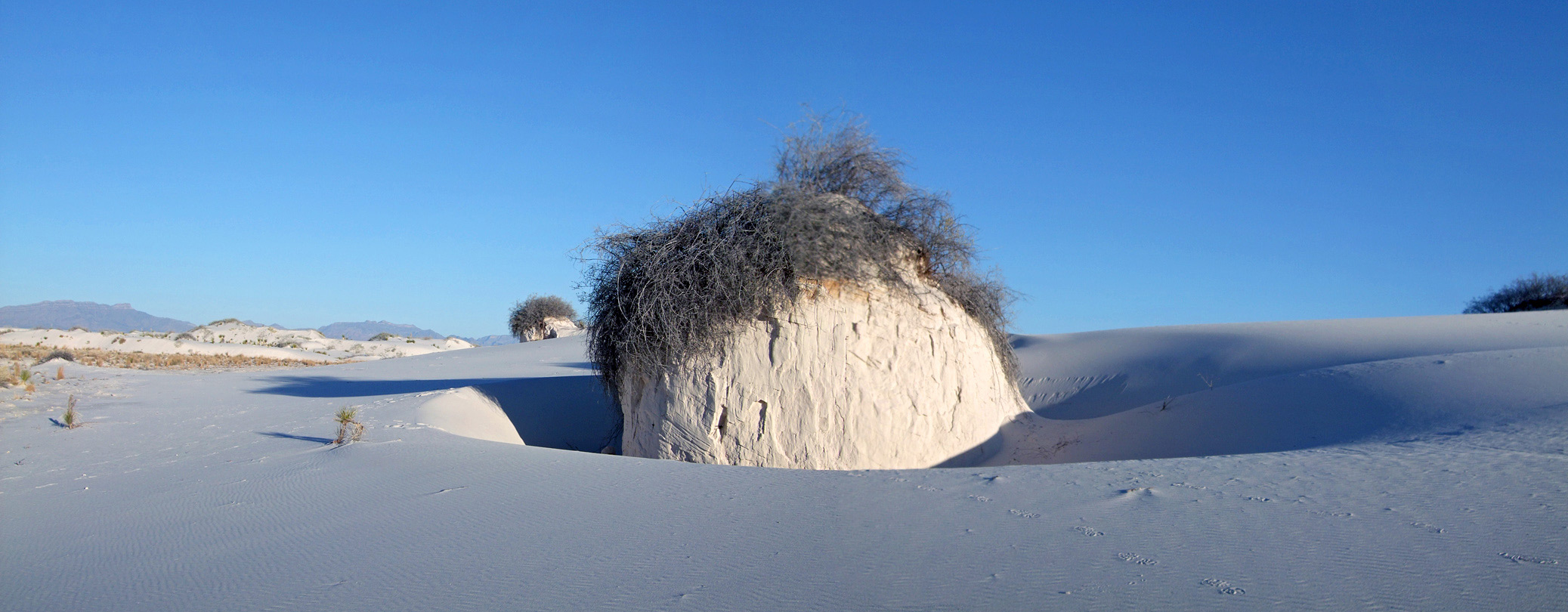 Mound of compacted gypsum