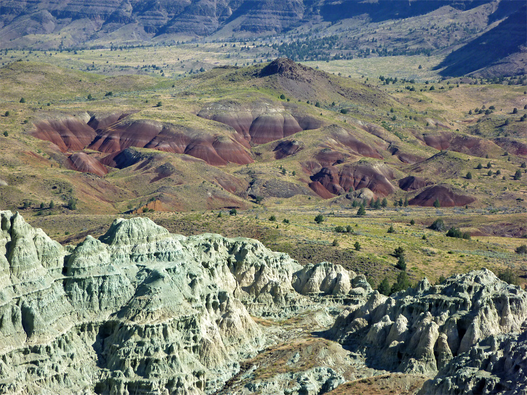 Red mounds and grey badlands