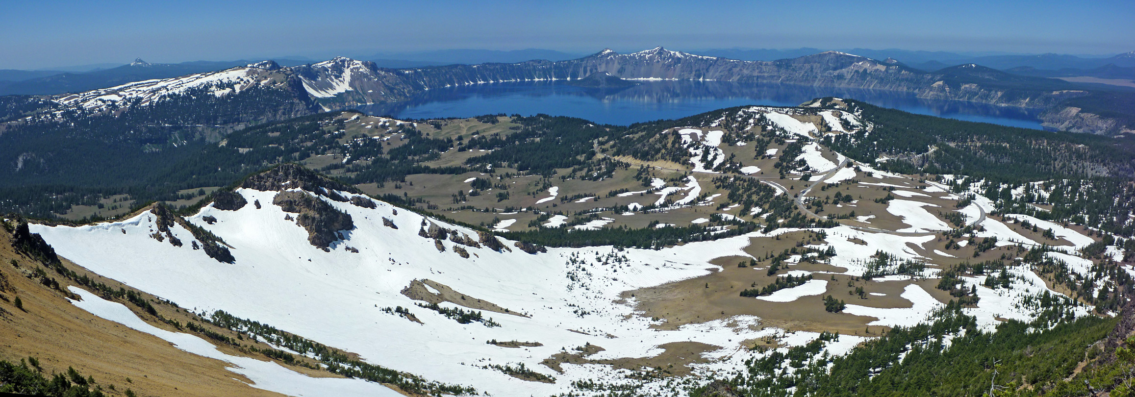 The summit - view west, towards Crater Lake