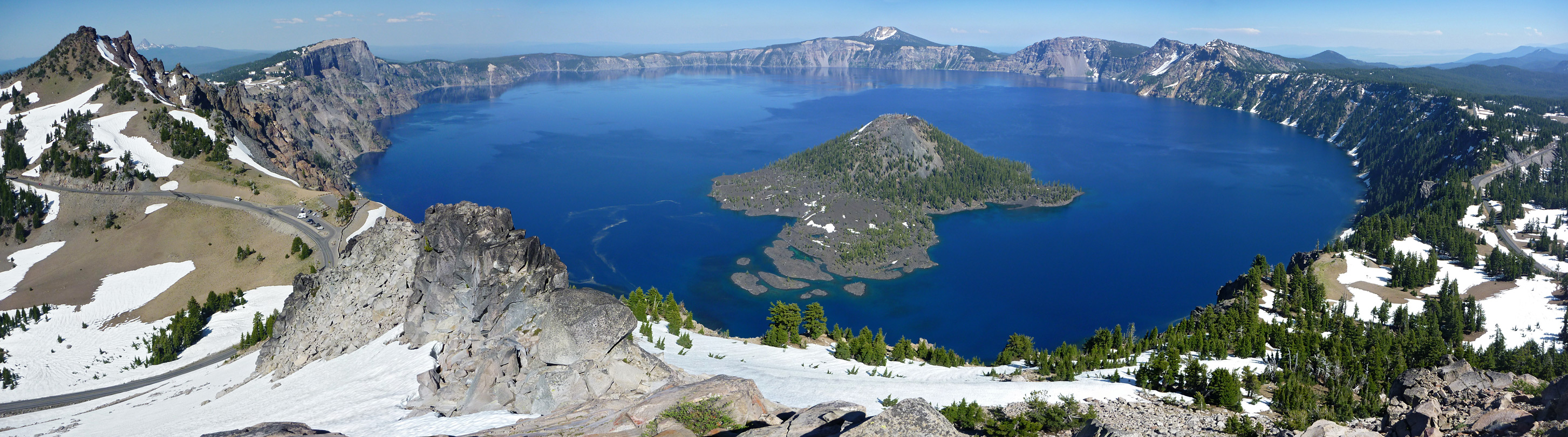 Panoramic view over Crater Lake