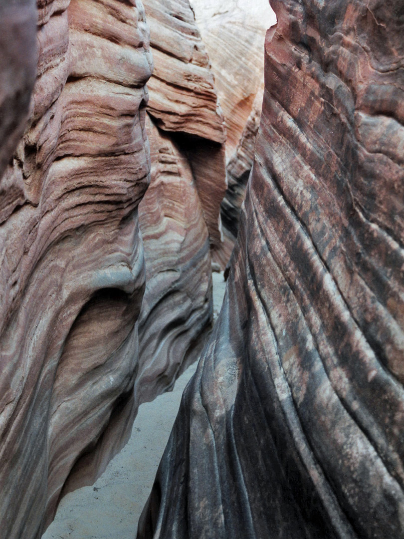 Layered sandstone walls