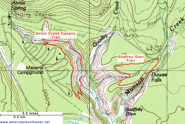 Map of the Annie Creek and Godfrey Glen trails