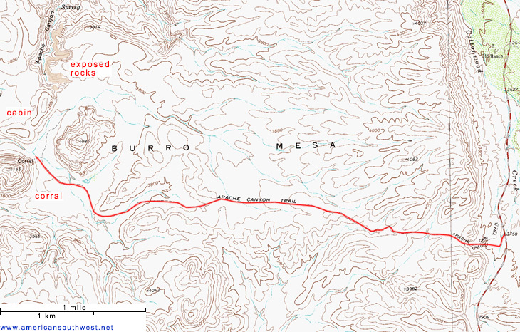 Map of the Apache Canyon Trail