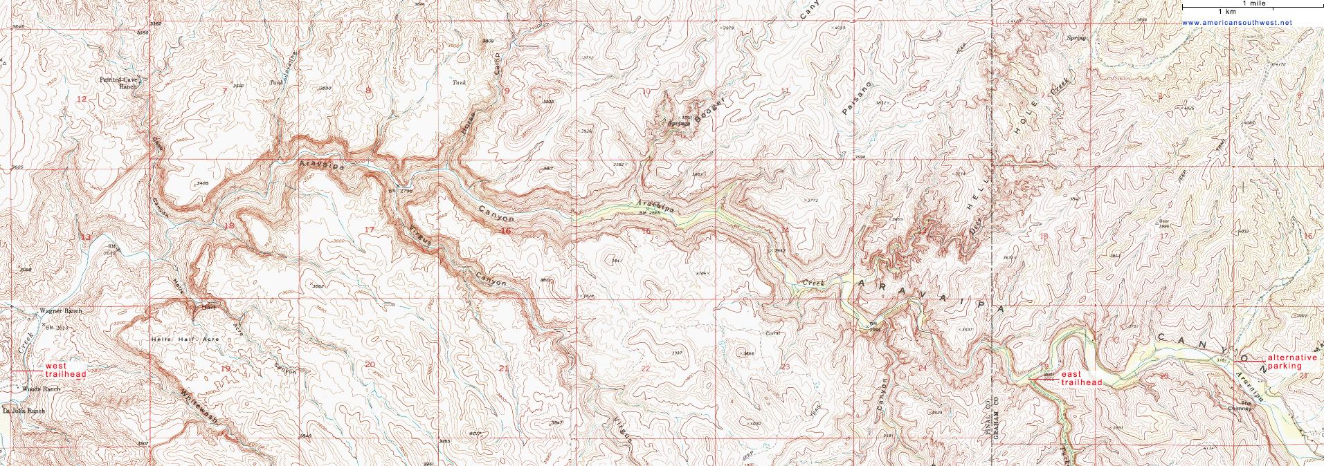 Topographic Map Of Aravaipa Canyon Arizona