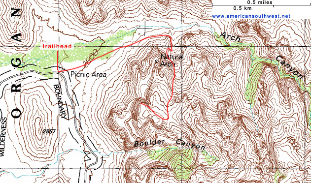 Map of the Arch Canyon Trail