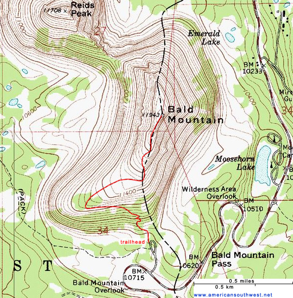Map of the Bald Mountain Trail