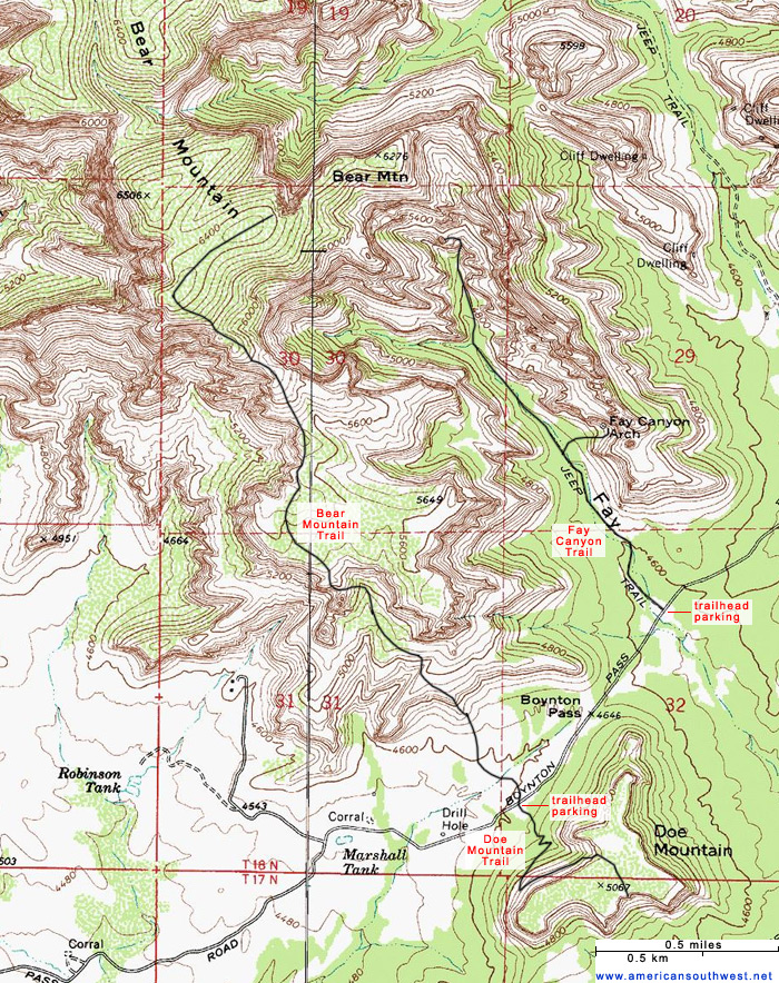 Topographic Map of the Bear Mountain Trail, Sedona, Arizona