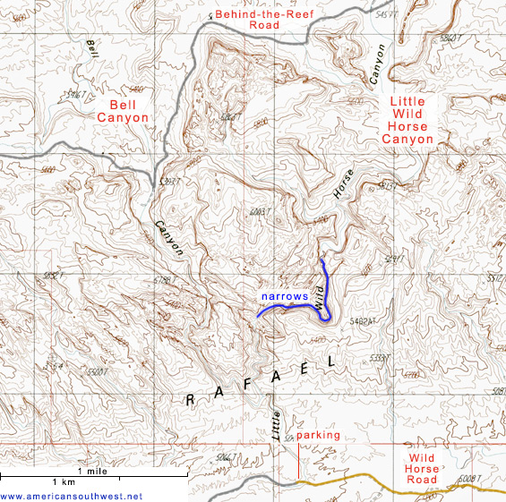 Topo map of Little Wild Horse Canyon