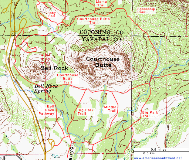 Map of the Courthouse Butte Trail