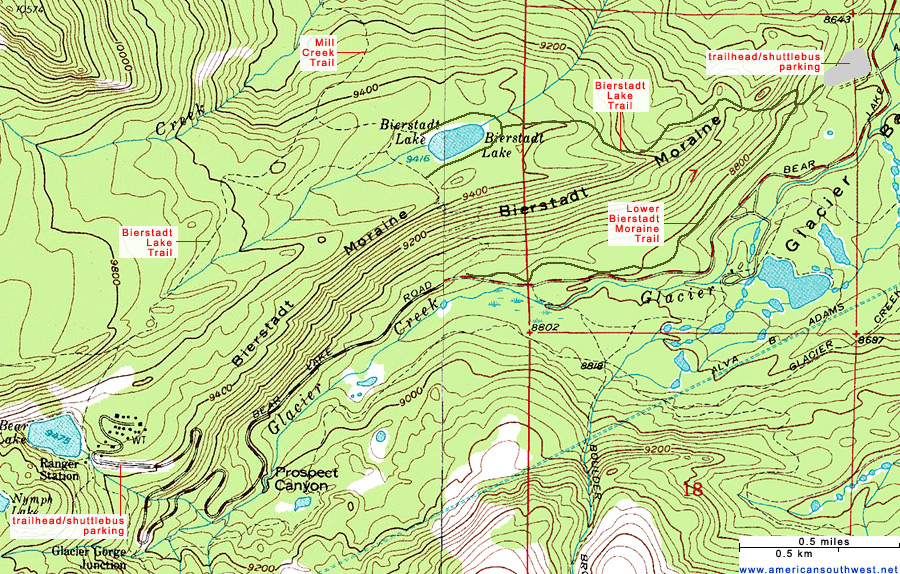 Topographic Map of the Bierstadt Lake Trail, Rocky Mountain