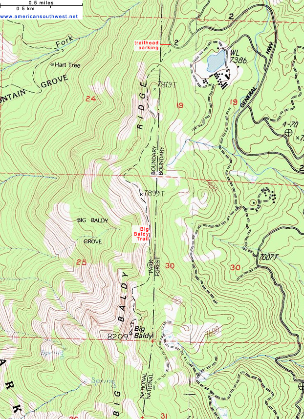 Map of the Big Baldy Trail