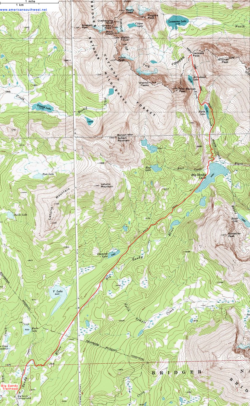 Wind River Range Wyoming Map.Topographic Map Of The Big Sandy Trail To Cirque Of The Towers Wyoming
