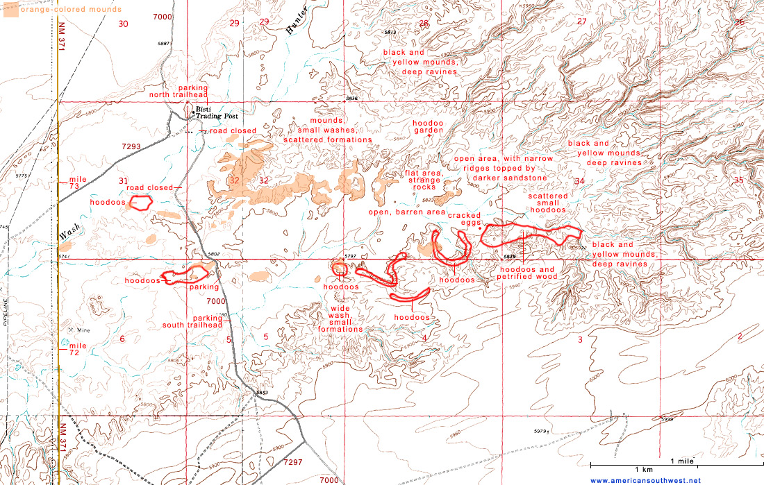 Map of the Bisti Wilderness Area