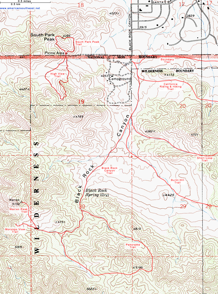 map of black rock canyon and the panorama trail. topographic map of the panorama trail joshua tree national park