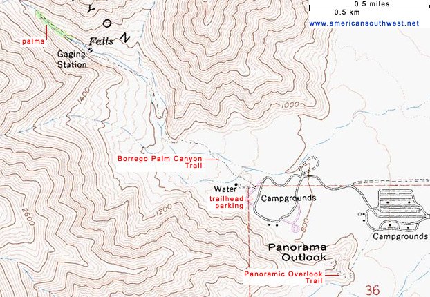 Topographic Map of the Borrego Palm Canyon Trail