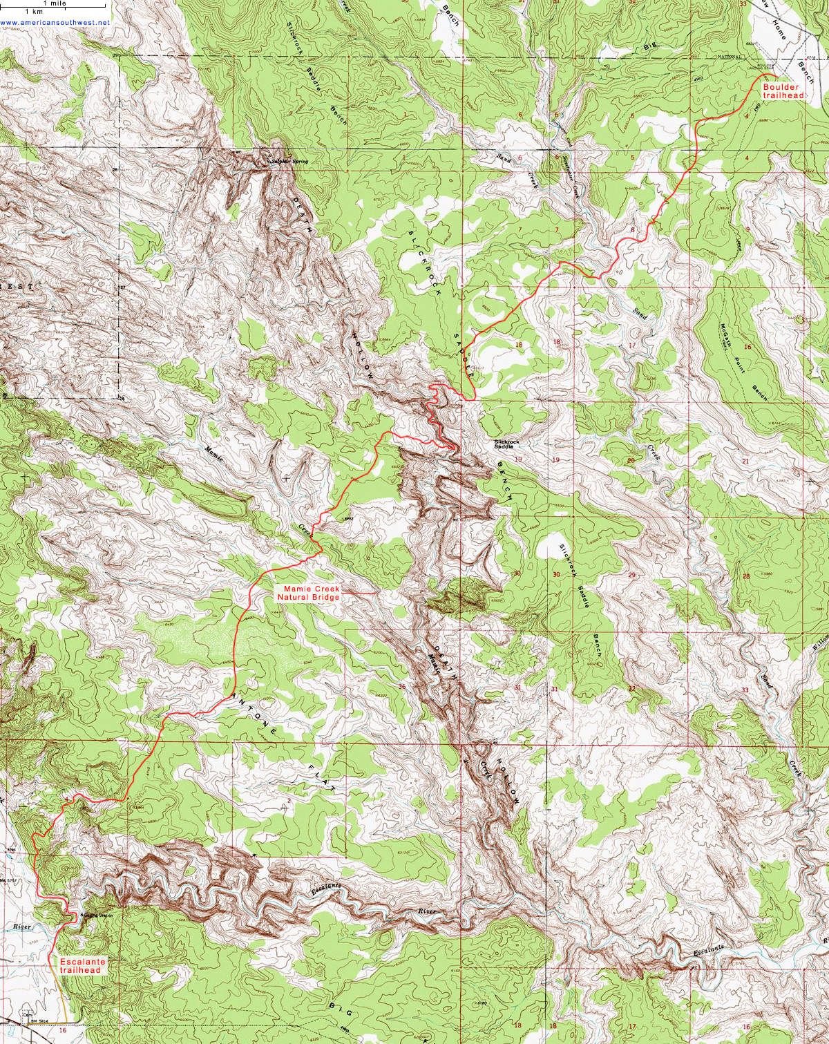 Topographic Map of the Boulder Mail Trail, Grand Staircase
