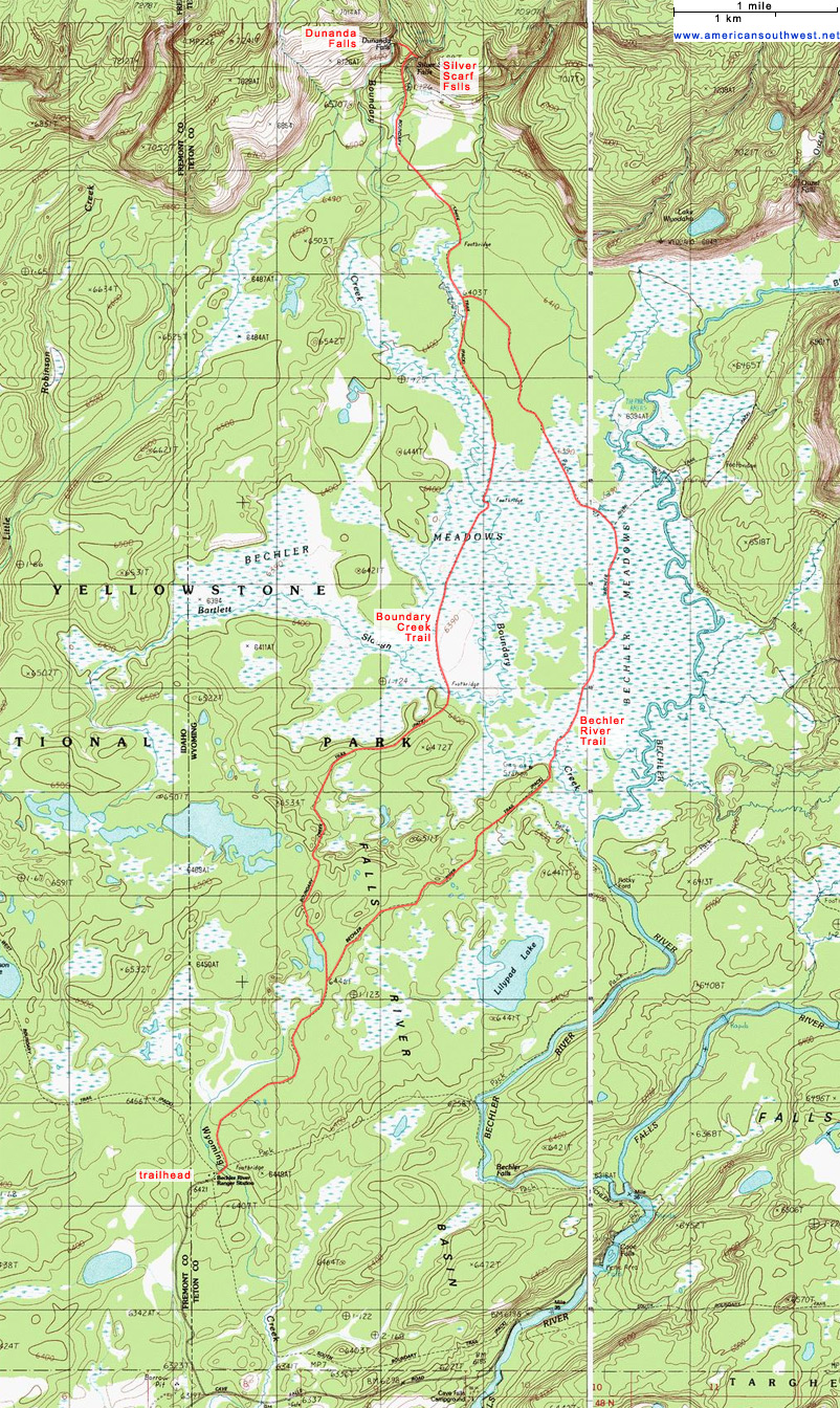 Topographic Map Of Yellowstone.Topographic Map Of The Boundary Creek And Bechler River Trails
