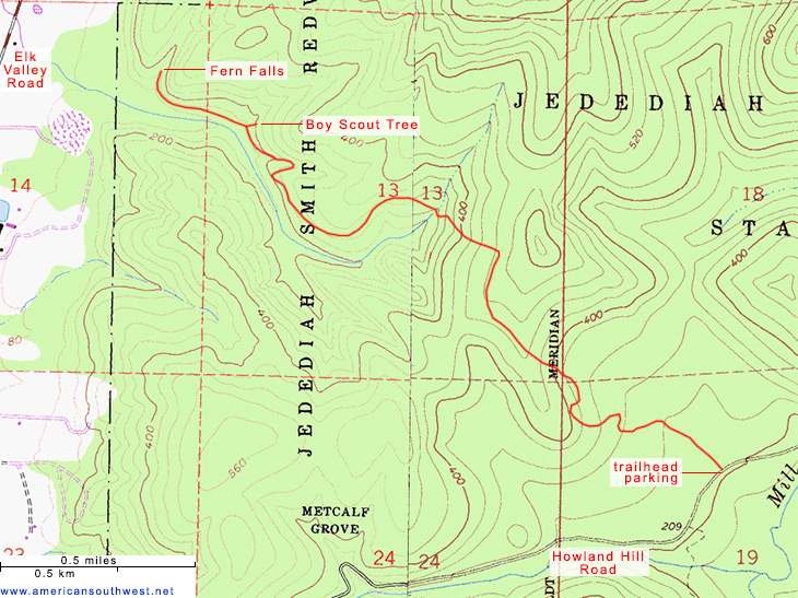 Map of the Boy Scout Tree Trail