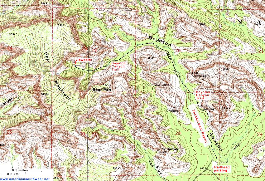 Topographic Map Of The Boynton Canyon Trail Sedona Arizona - Arizona topographic map