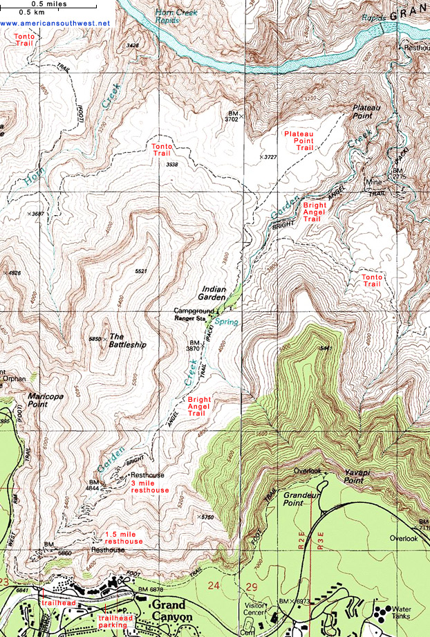Topographic Map of the Bright Angel Trail, Grand Canyon
