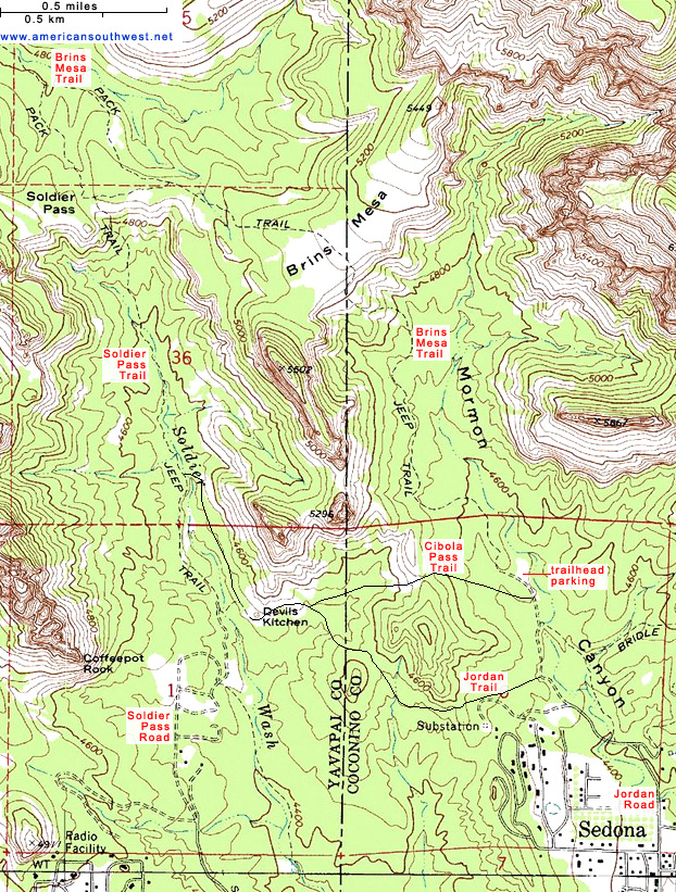 Map of the Brins Mesa/Soldier Pass Trails, Sedona