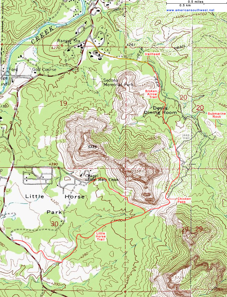 Map of the Broken Arrow Trail, Sedona