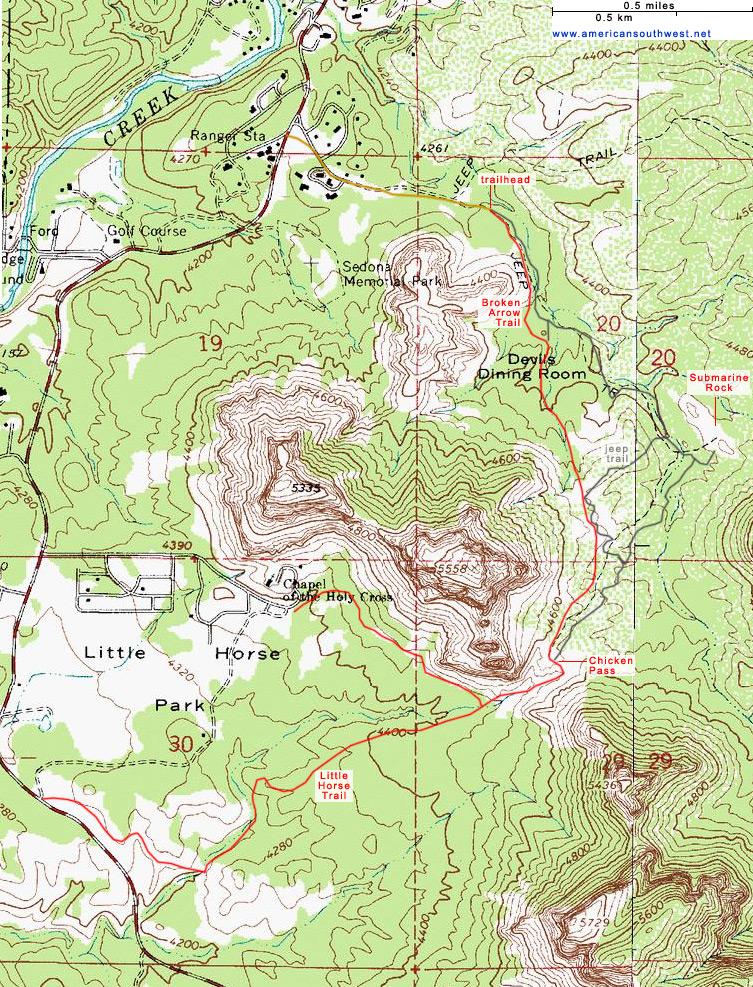 Topographic Map of the Broken Arrow Trail, Sedona, Arizona