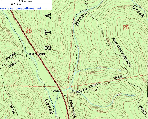 Map of the Brown Creek and South Fork Trails