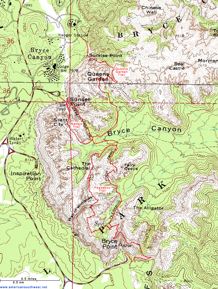 Topographic Map of Bryce Canyon, Utah