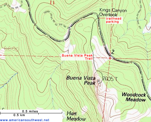 Map of the Buena Vista Peak Trail
